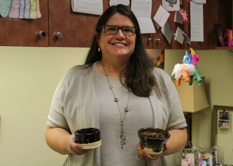 Montana Hisel-Cochran, a professor of the Pamplin School of Business, has been taking pottery classes at St. John's Clay Collective since October.