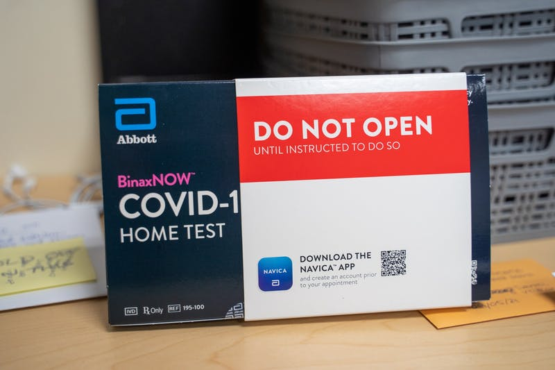 15-minute rapid self-administered COVID-19 tests can be picked up at Campus Safety at any time.