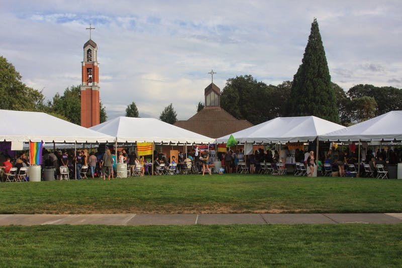 Tents stand in the quad for an activities fair of years past.