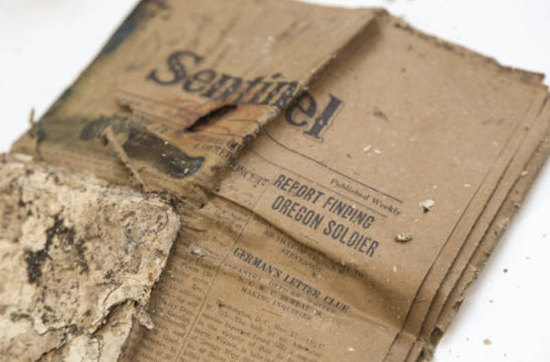 Many of the contents of the time capsule were damaged upon its discovery, but among the surviving few was this 1927 copy of the Catholic Sentinel newspaper. Photo courtesy of UP Library.