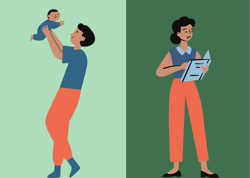 When COVID-19 shut down daycare centers and schools last spring, UP professors quickly had to adapt to full time parenting as well as full time teaching. Canva graphic by Molly Lowney.