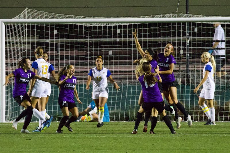 The Pilots rushed the field to congratulate Armendariz on her first career goal.