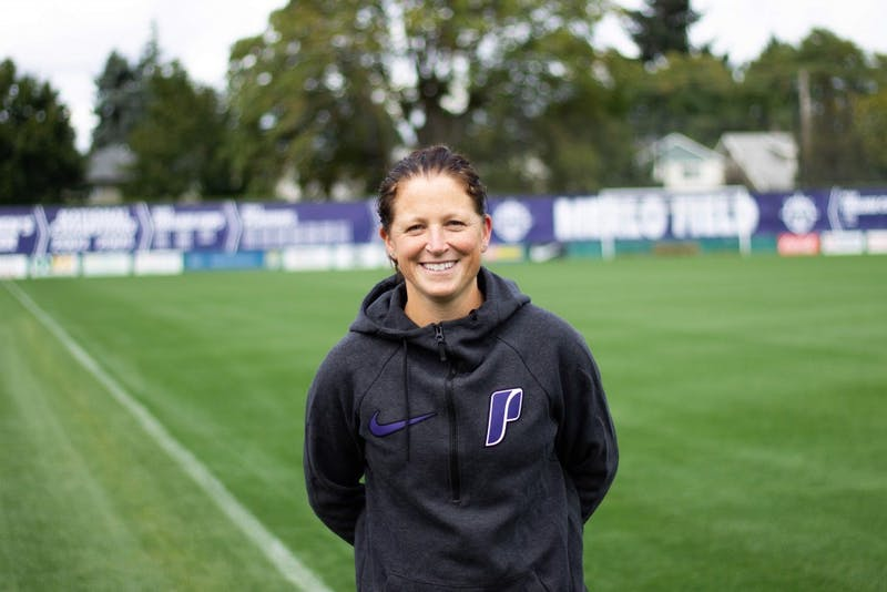 Michelle French smiles on her old (and new) stomping grounds, Merlo Field. She is excited to be back on The Bluff and carry on Clive Charles's legacy. Fun Fact: French has one older sister who is five years older and played soccer for Seattle U.