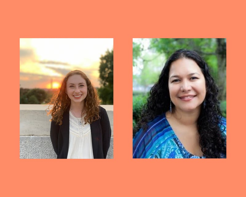 Rachel Mehlman (left), president of Active Minds, and Sarina Saturn (right), chair of the Academic Mental Health Network. Photos provided by Rachel Mehlman and Sarina Saturn. Canva created by Dora Totoian.
