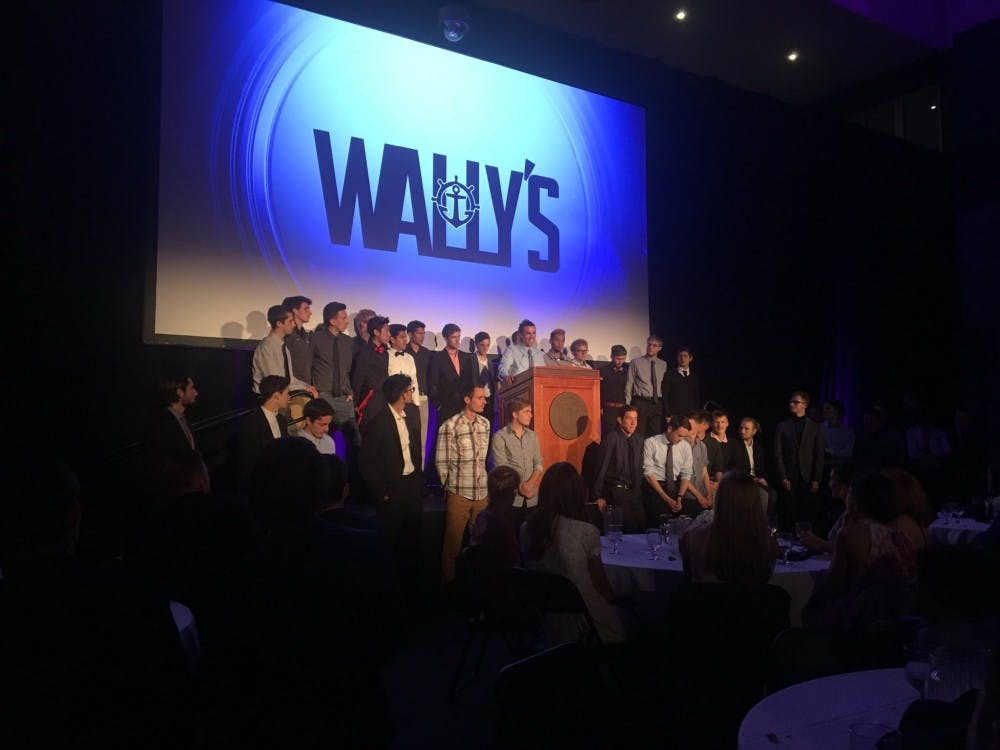 "The men's cross country team won ""Game of the Year"" at this year's Wally Awards.   Photo taken from the Portland Pilots' Twitter page."