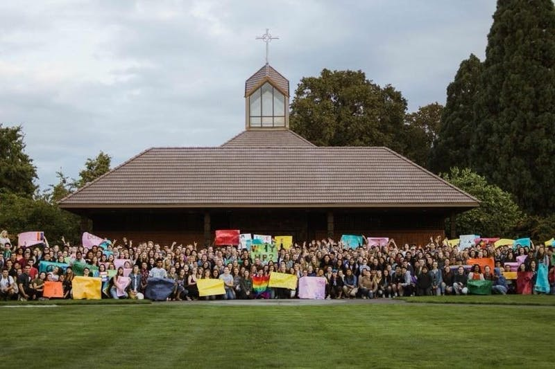 SASA gathering to stand in solidarity with the LGBTQ community. Posted Sept. 21, 2018.Photo courtesy the SASA Facebook page.