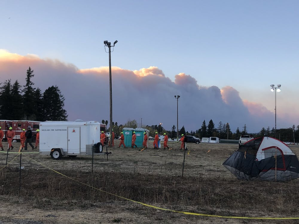 Firefighters gather at a disaster support camp in Santa Rosa, California. Photo courtesy of Rob Stewart.