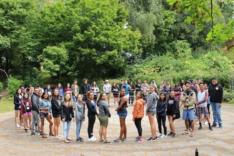 Ohana program participants play games during their 2017 summer retreat to form connections with other members. Courtesy of Miranda Whitters.