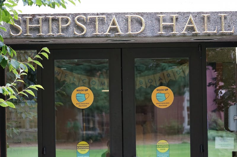Pilot prevent signs on the front doors of Shipstad Hall.