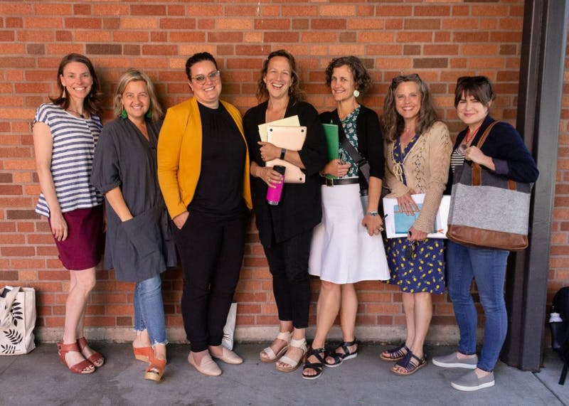 From left to right, professors Christi Hancock, Vail Fletcher, Lara-Zuzan Golesorkhi, Alice Gates, Molly Hiro, Laura McLary and Jen McDaneld are leading the inaugural Public Research Fellows program.