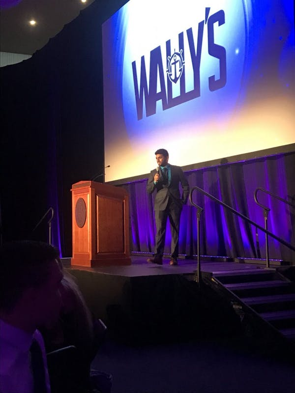 Goutham Sundaram hosted the fifth annual Wally Awards Sunday night. Photo courtesy of the Portland Pilots Twitter page.
