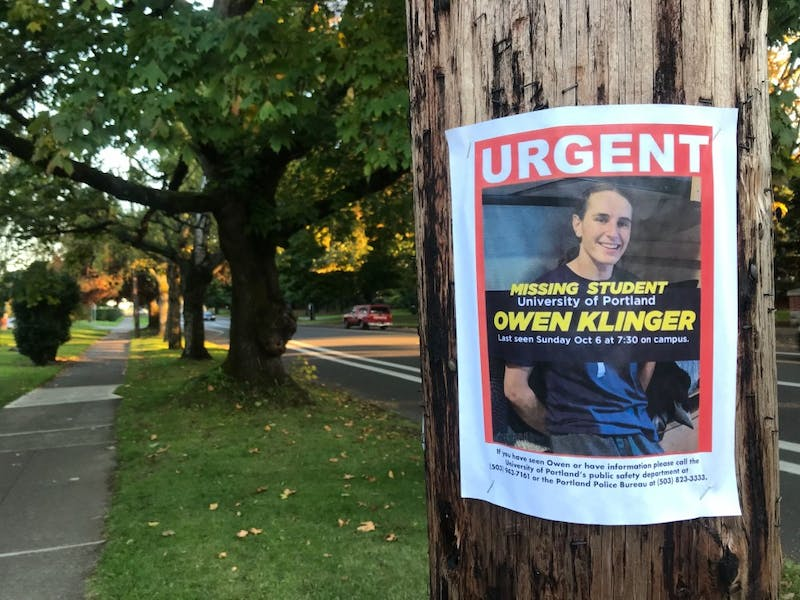 Owen Klinger's family and friends have been putting up flyers around the Portland area. Klinger has been missing since Sunday night.