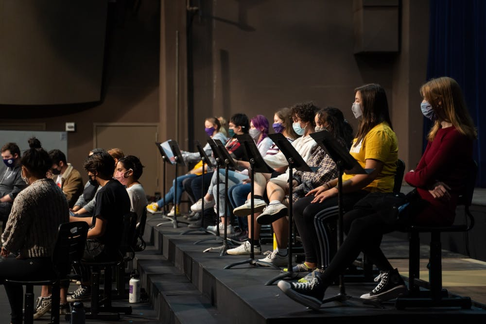 """Student members of the UP theater program rehearse for their upcoming production of, """"You Cannot Undo This Action"""" which will be shown from September 22nd to the 26th at 7:30 pm in the Mago Hunt Center."""