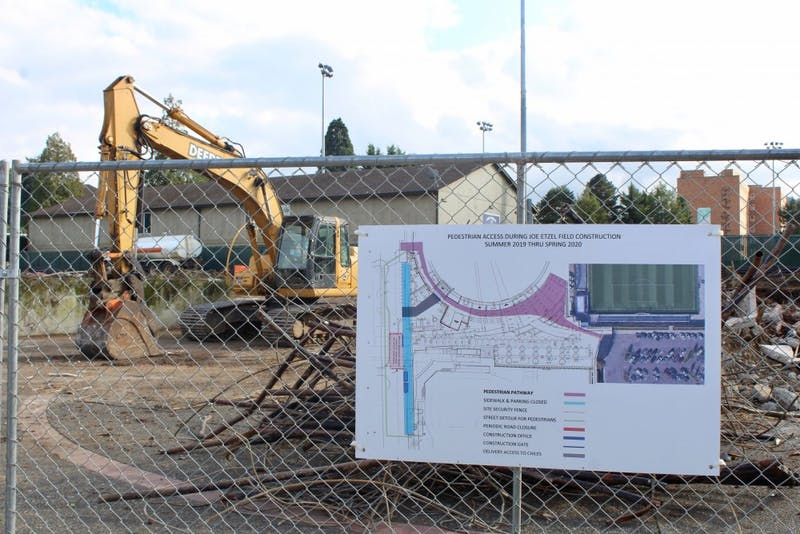 In August, construction began on the new Joe Etzel Stadium and Chiles Center Plaza.