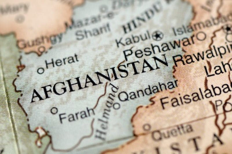 A close-up photograph of Afghanistan from a desktop globe. Image courtesy of Unsplash
