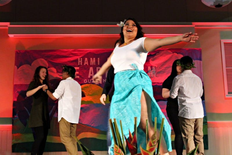Students dance and perform at Guam Night in 2017.