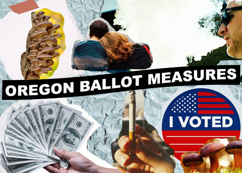Last week, Oregon passed four new ballot measures ranging from campaign finance reform to decriminalization of certain drugs. Images courtesy of Unsplash. Photo illustration by Molly Lowney.