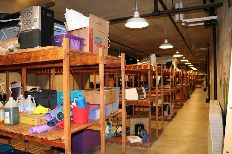 The basement of each University of Portland residence hall holds a trunk room filled with students' storage items.
