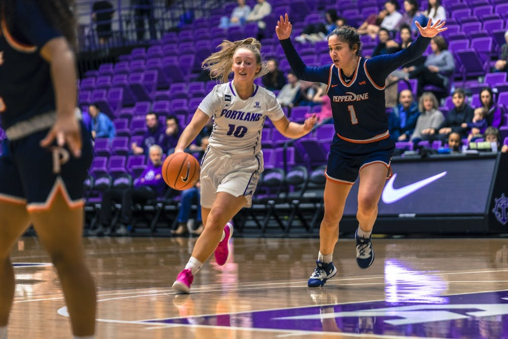 Haley Andrews, a key player for the Pilots, during a game against Pepperdine in January. UP's men's and women's teams are considering practicing and playing out of state due to COVID-19 restrictions.