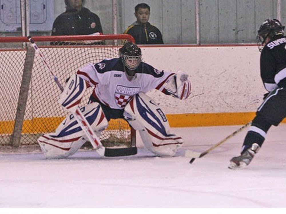 Cameron Purves, No. 33, goalie, during the club hockey team's win over Loyola