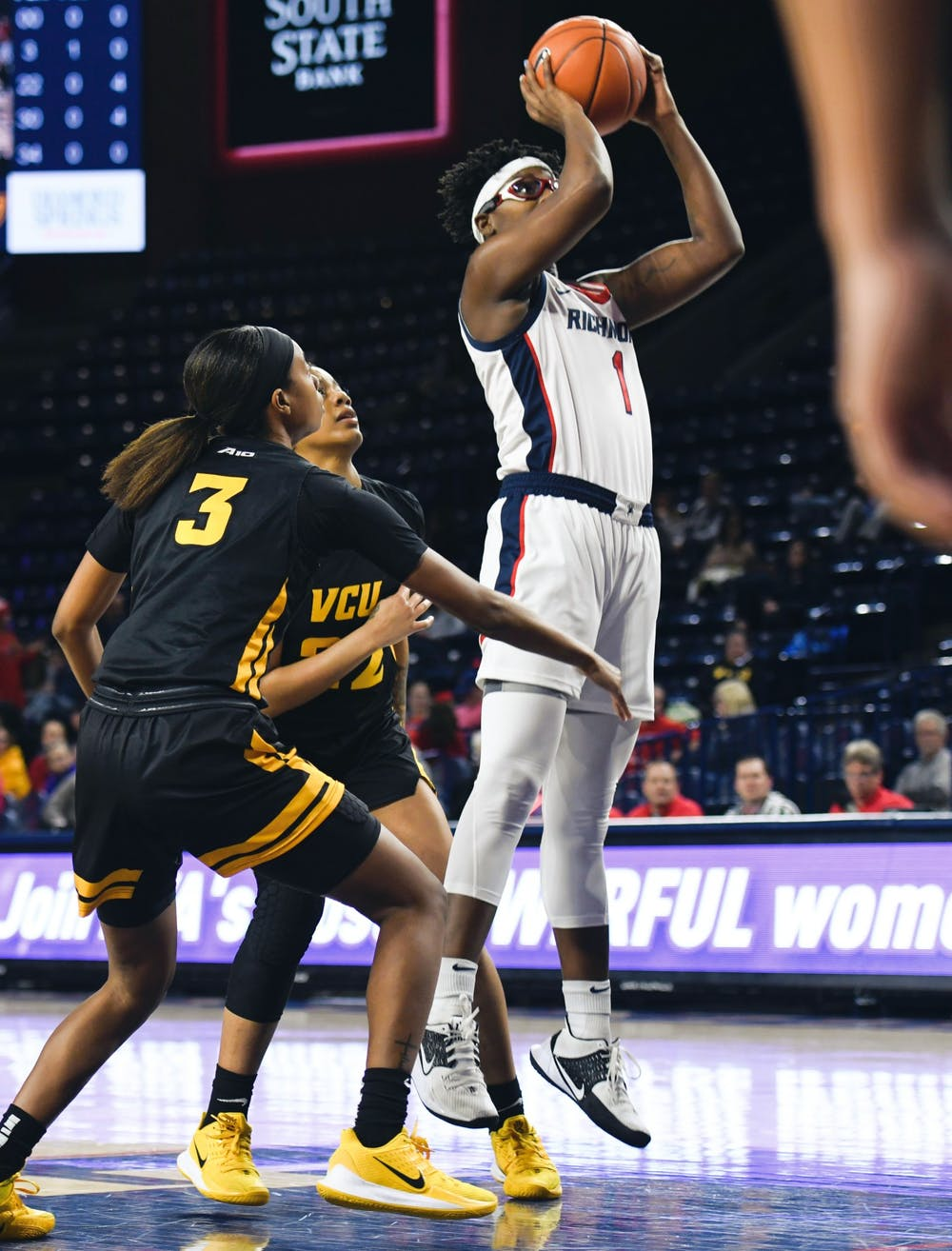 Senior forward Jaide Hinds-Clarke jumps past VCU defense during a game at Robins Stadium on Wednesday, February 5, 2020.