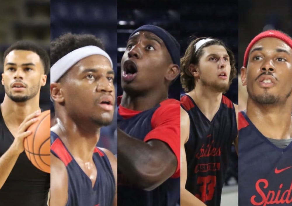 """<p>Richmond is expected to start (from left) a true freshman, two sophomores, a redshirt freshman, and a redshirt junior,&nbsp;making this the first&nbsp;year since 1999 the team will open without a senior in the starting lineup,&nbsp;<a href=""""https://s3.amazonaws.com/sidearm.sites/richmond.sidearmsports.com/documents/2017/11/9/Game_Notes_vs_Delaware_11_10_.pdf"""">according to the Spiders Season Outlook</a>. Photo courtesy of the Richmond Men's Basketball Instagram.&nbsp;</p>"""