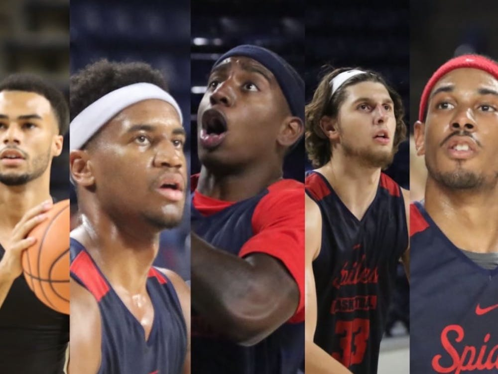 Richmond is expected to start (from left) a true freshman, two sophomores, a redshirt freshman, and a redshirt junior, making this the first year since 1999 the team will open without a senior in the starting lineup, according to the Spiders Season Outlook. Photo courtesy of the Richmond Men's Basketball Instagram.
