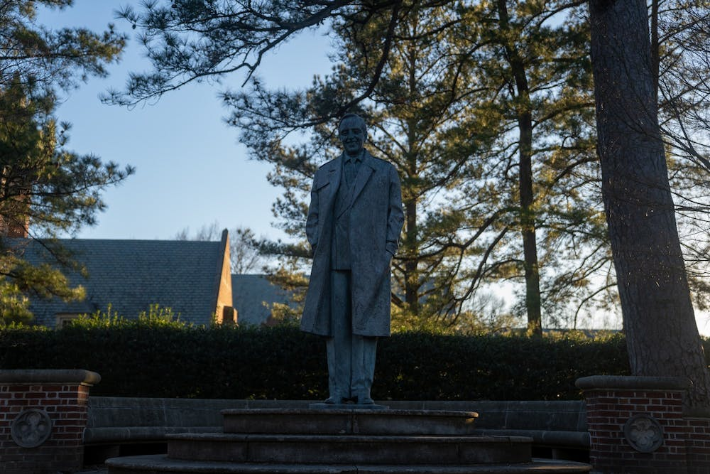 <p>The statue of University benefactor E. Claiborne Robins stands in the academic quad.</p>
