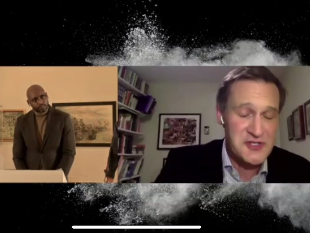 A screenshot of the Arts and Sciences Webinar series between former Charlottesville Mayor Michael Signer and Arts and Sciences Dean Patrice Rankine