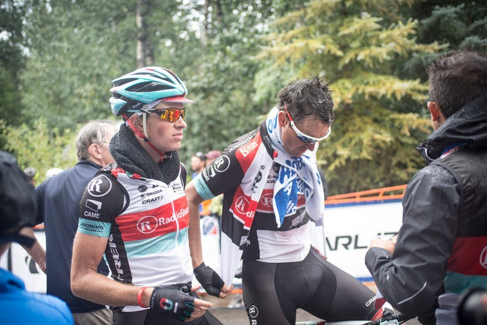 <p>Ben King, left, of Richmond, VA will ride for the US five-man team in the UCI Road World Championships.</p>