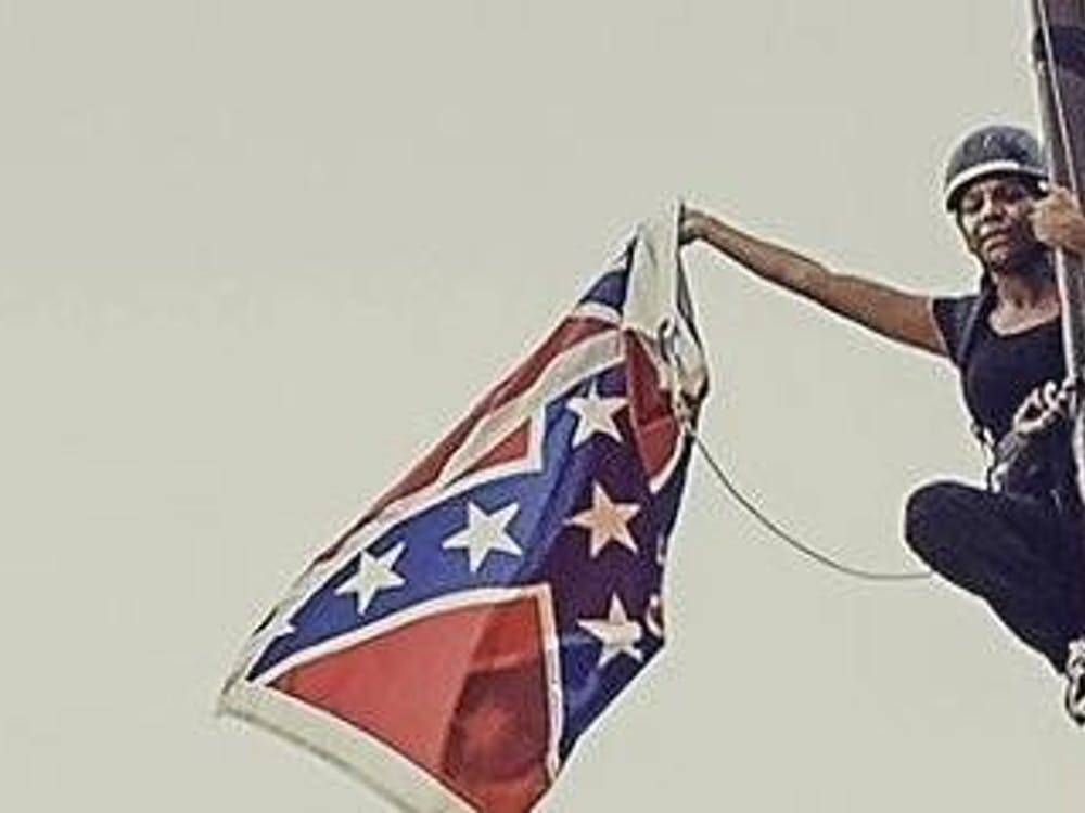 Bree Newsome climbed the flagpole at the South Carolina Capitol to lower the confederate battle flag in 2015. Image courtesy of the University of Richmond Chaplaincy.