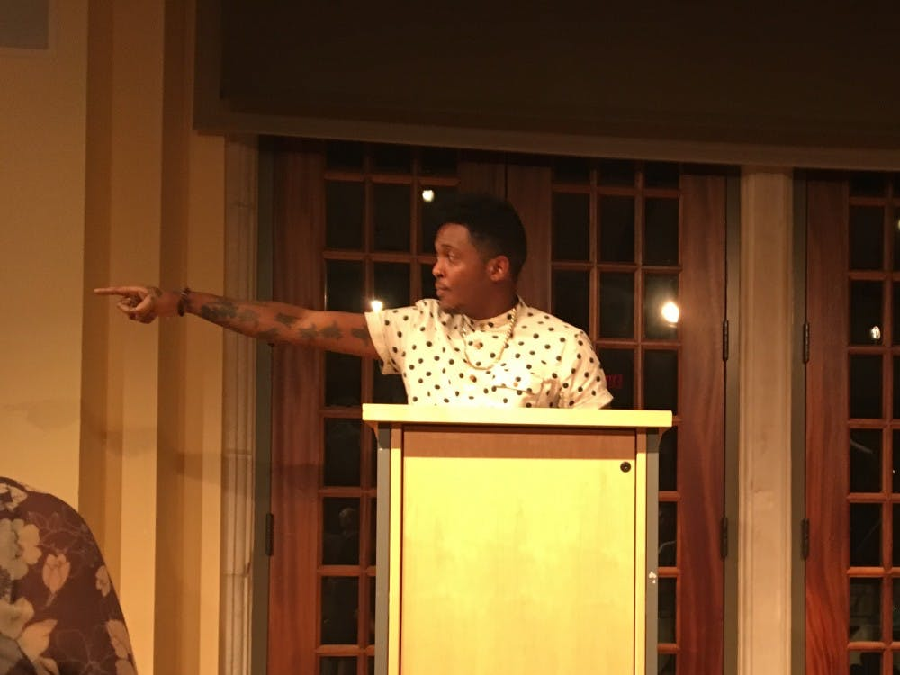Danez Smith performed his poems in the International Center Commons on Thursday.