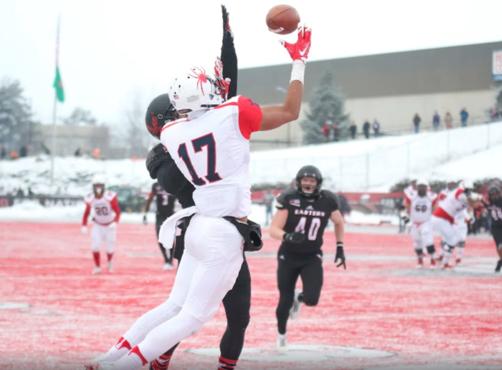 <p>Richmond receiver Jarmal Bevels attempts to catch a pass despite tight coverage during Saturday's FCS quarterfinal game against Eastern Washington.</p>
