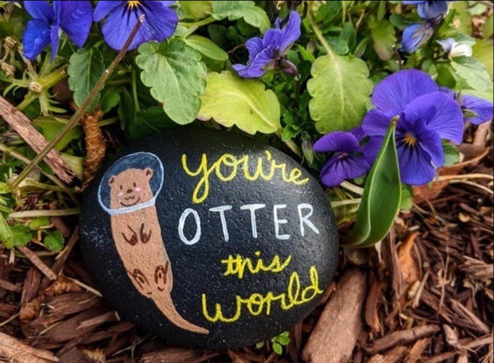 <p>One of the kindness rocks found on the University of Richmond campus. <em>Photo courtesy of the ur_kindness_rocks Instagram account</em><br> </p>