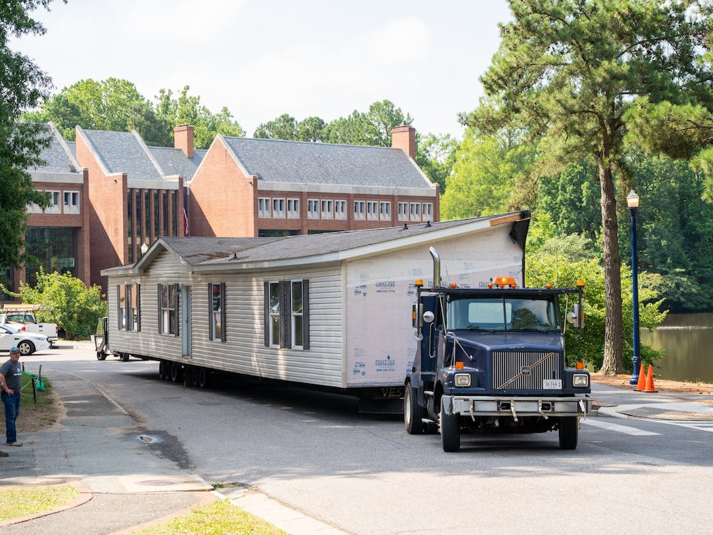 A modular unit used for student quarantine and isolation in the 2020-2021 academic year was prepared for transport to Norton, Virginia on July 27. Photo courtesy of the University of Richmond.
