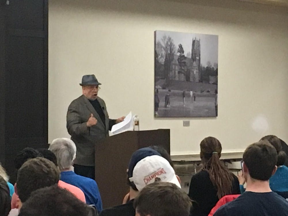 Walter Mosley spoke Thursday evening in the Alice Haynes Room of the Tyler Haynes Commons.