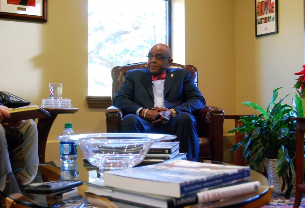 <p>President Ronald A. Crutcher in his office in Maryland Hall.&nbsp;</p>