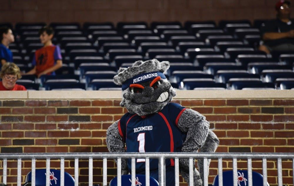 <p>WebstUR walks through the stands at Robins Stadium during a football game on Saturday, Sept. 14, 2019.&nbsp;</p>