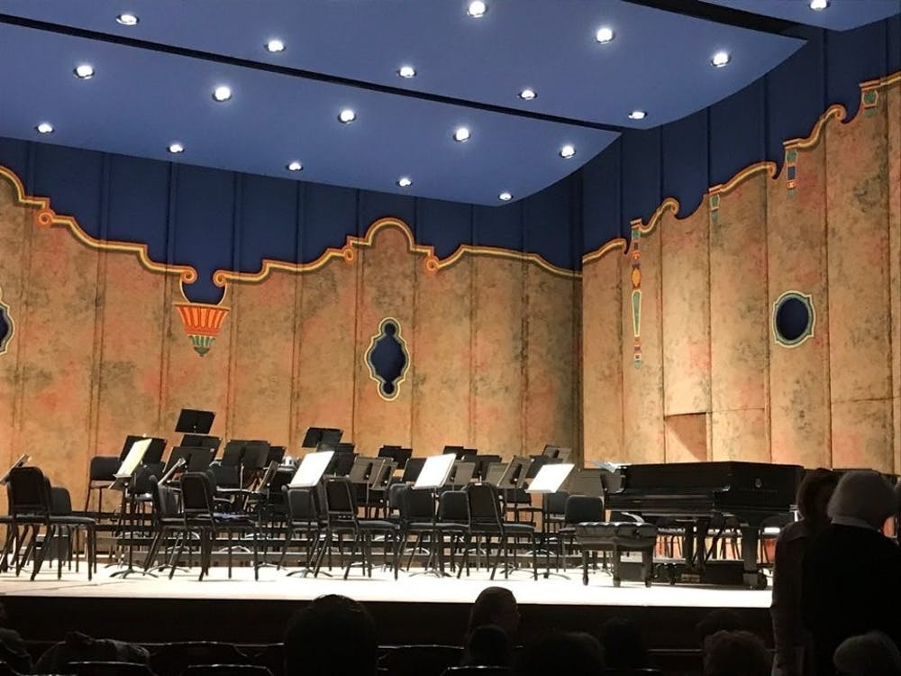 Lights glow on the stage in the Dominion Energy Center shortly before the Ukrainian National Symphony Orchestra began their performance Friday at 7 p.m.