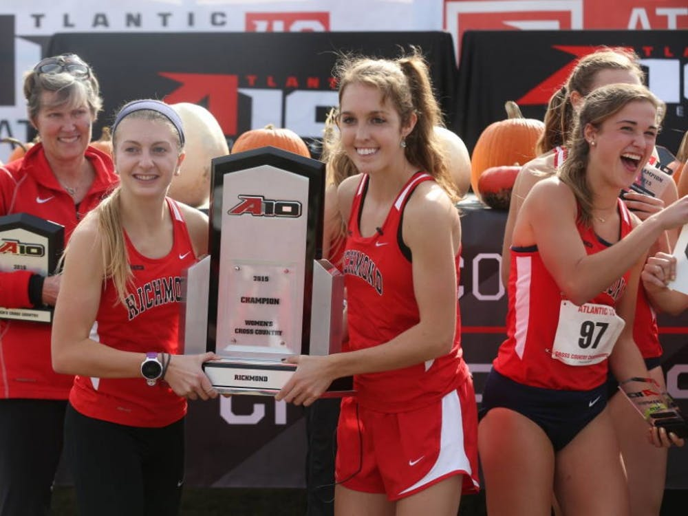 Tara Hanley, pictured middle right, led the women's cross country team to a victory at the A-10 Championships.Photos courtesy of Richmond Athletics.