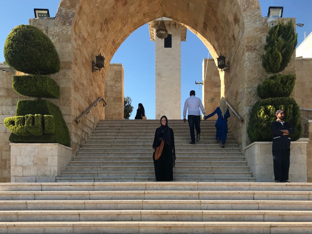Addie Jo Quinlen in front of the mosque by the Cave of the Seven Sleepers.