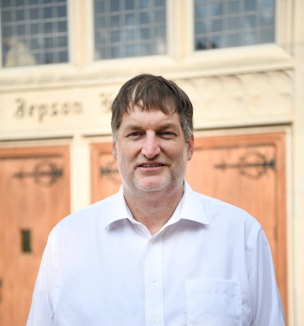 <p>University of Richmond professor Thad Williamson stands for a portrait outside the Jepson School of Leadership. Earlier this summer, Williamson announced his run for 5th District seat on the Richmond City Council.&nbsp;</p>
