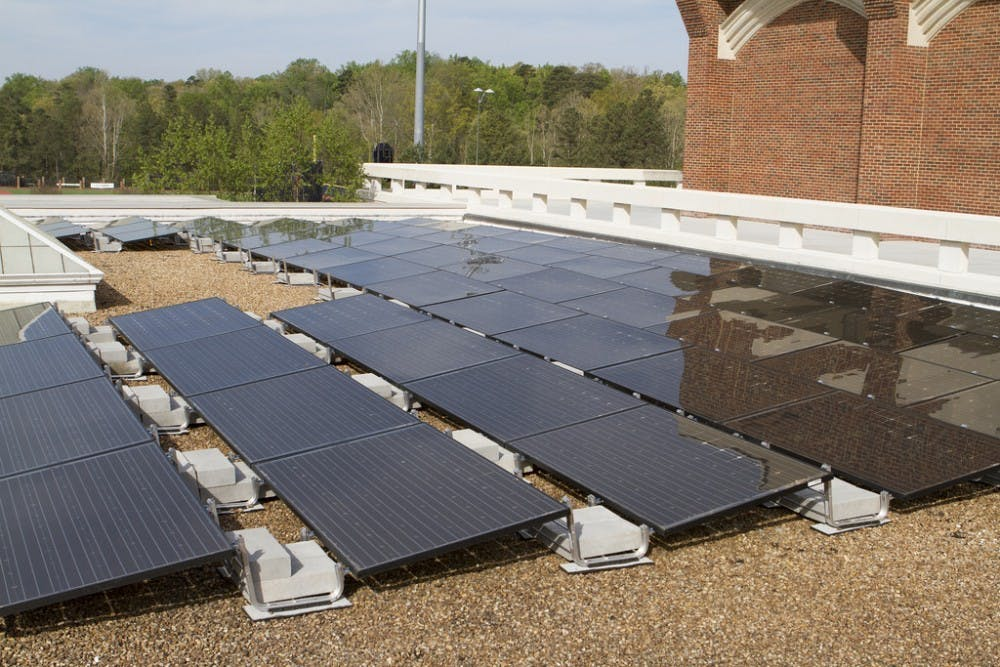 <p>Solar panels on the roof of the Weinstein Center for Recreation and Wellness. Under a new agreement between the University of Richmond and sPower, an off-campus solar farm is expected to neutralize 19,720 metric tons of carbon each year, beginning in 2020.&nbsp;</p>