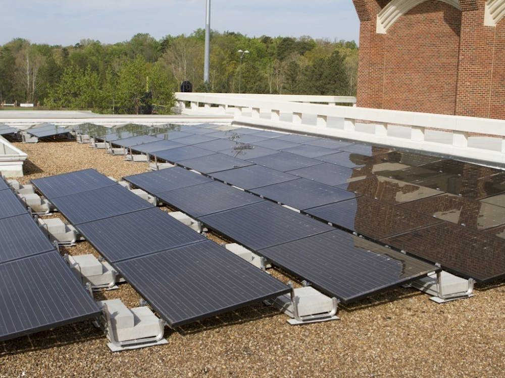 Solar panels on the roof of the Weinstein Center for Recreation and Wellness. Under a new agreement between the University of Richmond and sPower, an off-campus solar farm is expected to neutralize 19,720 metric tons of carbon each year, beginning in 2020.