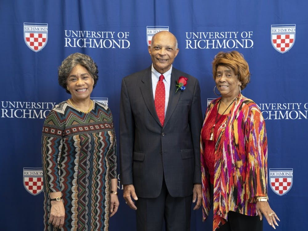 """From left, Madieth Malone, Barry Greene and Isabelle (Thomas) LeSane, all 1972 graduates, were honored at the """"A Story Unfolding"""" event."""