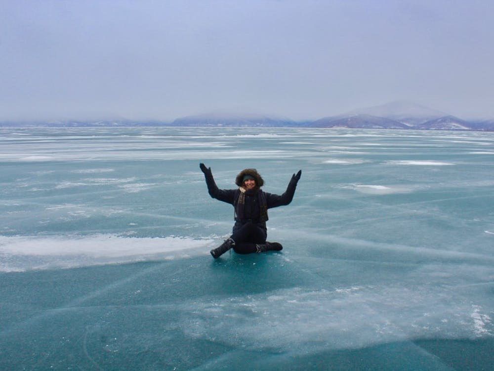 Senior Rylin McGee on Lake Baikal in Siberia, Russia, where she studied abroad. Photo courtesy of Rylin McGee.
