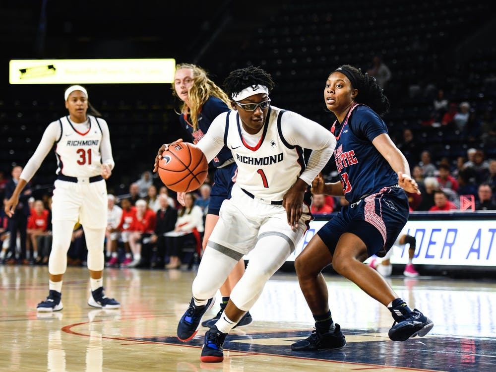 Senior forward Jaide Hinds-Clarke runs the ball down the court in the home opener against Florida Atlantic University on Saturday, November 16, 2019.