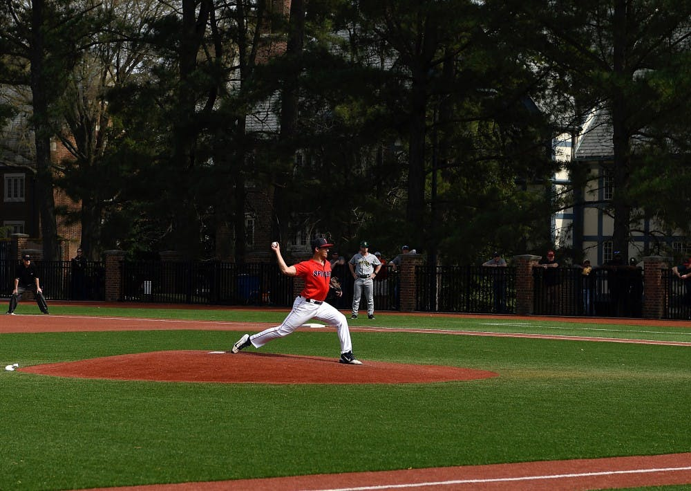 <p>Sophomore right-handed pitcher Jarrad DeLarso pitches for the Spiders.&nbsp;</p>