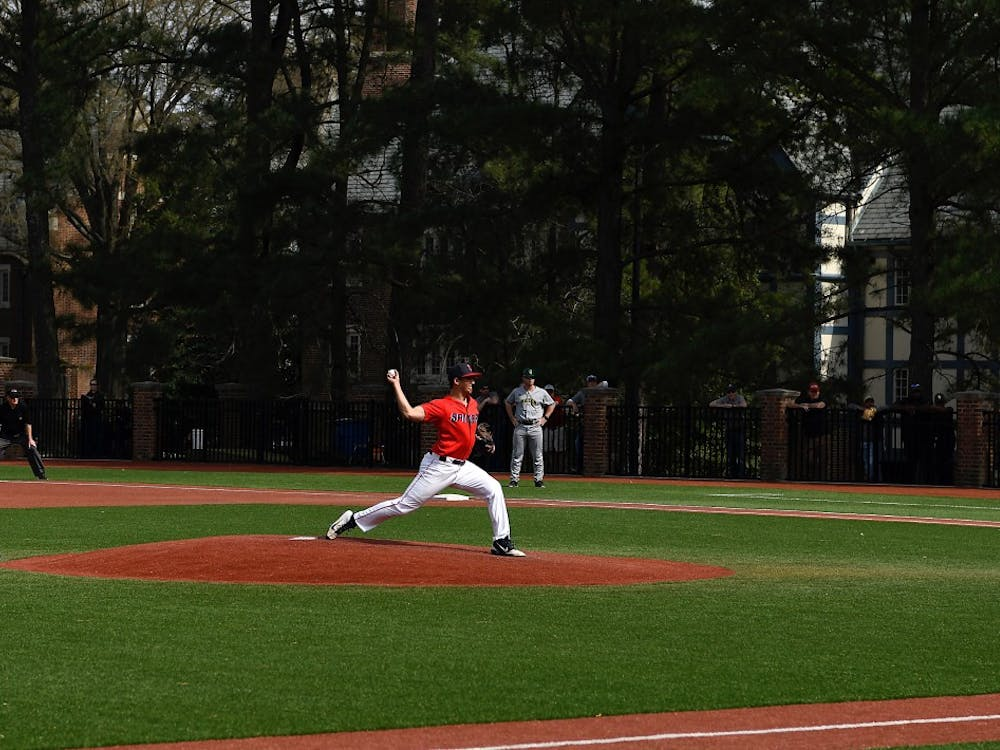 Sophomore right-handed pitcher Jarrad DeLarso pitches for the Spiders.