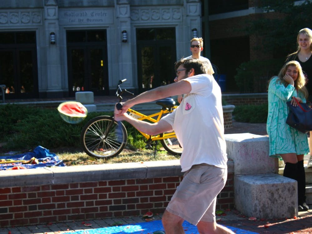 Students participate in the Lambda Chi Watermelon Bash. Photos by Rayna Mohrmann.
